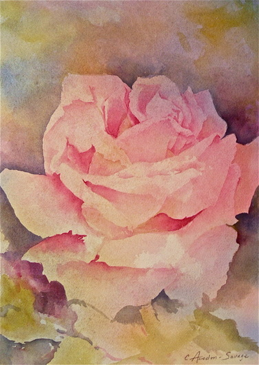 Watercolour Flowers Pink Rose