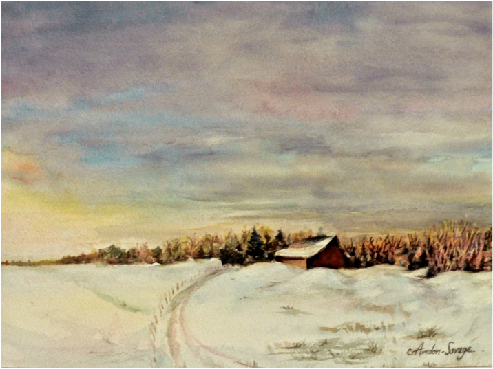 Prairie, Winter, Artwork, Sky, Watercolour